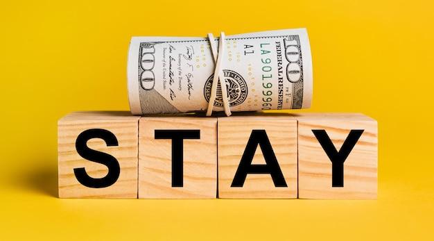 Pobyt z pieniędzmi na żółtym tle. pojęcie biznesu, finansów, kredytu, dochodu, oszczędności, inwestycji, wymiany, podatku