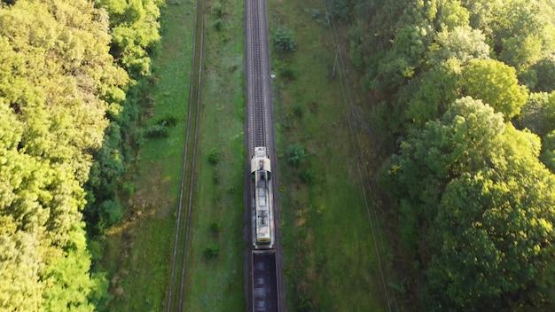Pociąg jedzie rano po torach przez las.