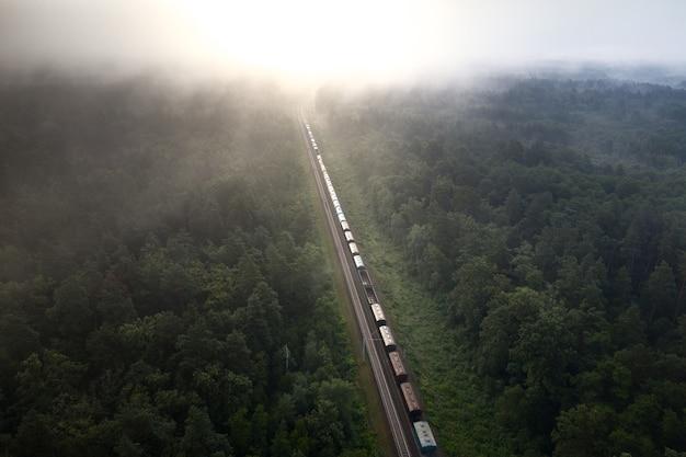Pociąg towarowy załadowany surowcami przewozi ładunek przez las. cudowny letni krajobraz. niewyraźne sosny o świcie od psującej się szyny.