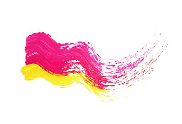 Pociągnięcie pędzlem różowo-żółta farba olejna