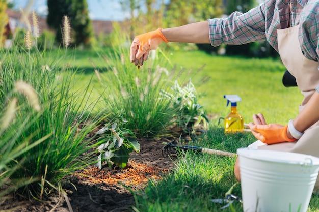 Pocieszająca gleba. młoda kobieta ubrana w jasne pomarańczowe rękawiczki ożywiająca glebę podczas pracy w pobliżu klombu