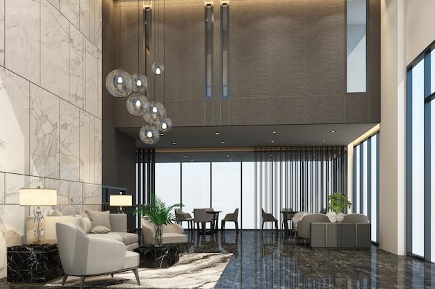 Poczekalnia przy recepcji głównej w kondominium lub hotelu z luksusowymi meblami i marmurową teksturą w szarym odcieniu renderowania 3d
