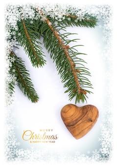 Pocztówka świąteczna. tło z ozdoby na kartkę z życzeniami, drewniane serce i miłość, miejsce na tekst