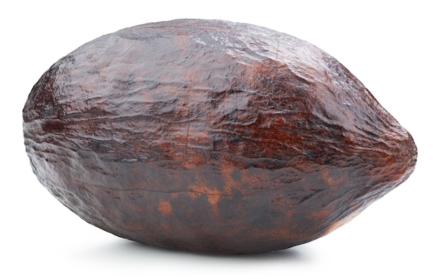 Pod na białym tle owoce kakao. pod kakao na białym tle.