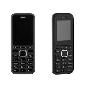 Pod różnymi kątami telefon komórkowy z przyciskiem na białym tle