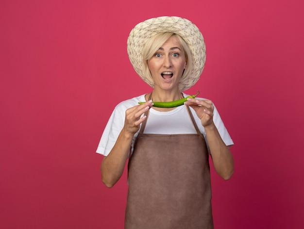 Pod wrażeniem blond ogrodniczka w średnim wieku w mundurze, w kapeluszu, trzymająca pieprz odizolowaną na szkarłatnej ścianie z miejscem na kopię