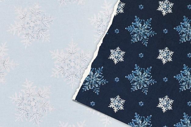 Podarty papier z niebieskim świątecznym płatkiem śniegu, remiks fotografii wilsona bentleya