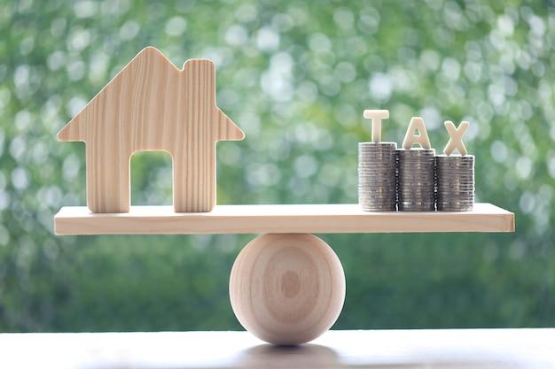 Podatek od nieruchomości, dom model ze stosem monet pieniądze i słowo podatku na huśtawce zielonym tle, inwestycje biznesowe i koncepcja podatku od nieruchomości