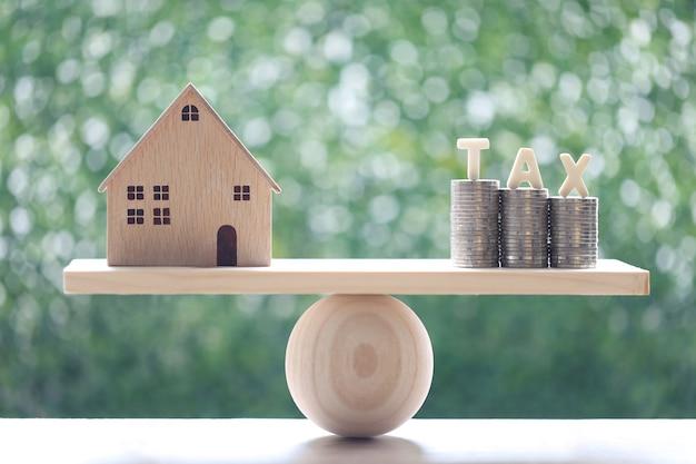 Podatek od nieruchomości, dom modelowy ze stosem monet pieniądze i słowo podatku na huśtawce zielonym tle