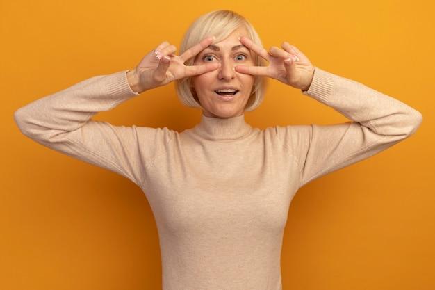 Podekscytowana ładna blondynka słowiańska gestykuluje ręką znak zwycięstwa obiema rękami