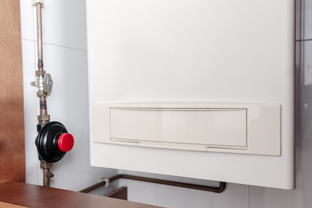 Podgrzewacz wody gazowej lub kocioł gazowy w domu wewnętrznym