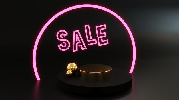 Podio para mostrar producto dorado con luces de nen escrito venta