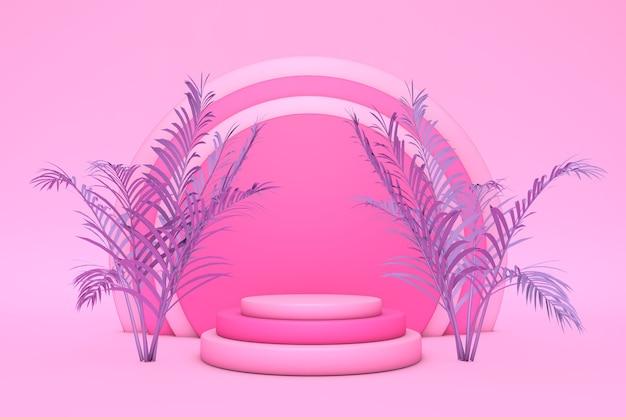 Podium 3d na różowym pastelowym tle i fioletowym liściem palmy