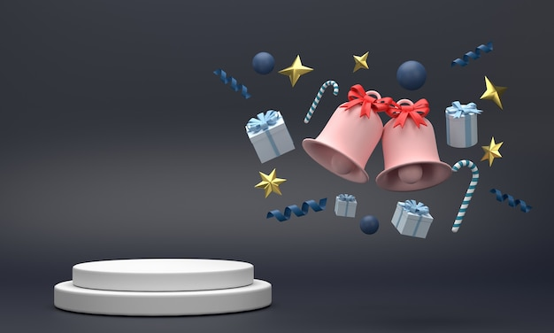Podium 3d na święta bożego narodzenia składające się z dzwonków, pudełek na prezenty, płatków śniegu