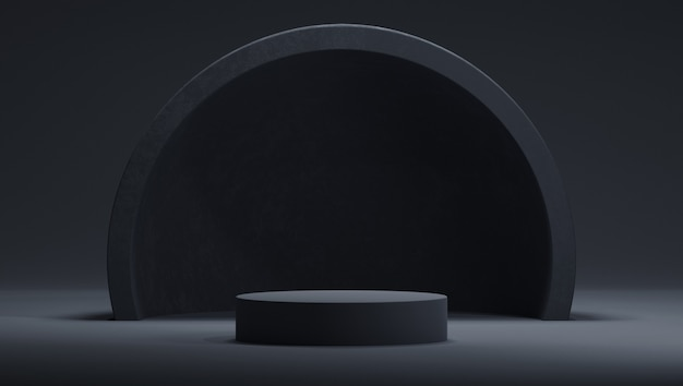 Podium 3d w czarnej kolorystyce z półkulą lub łukiem. streszczenie ciemne modne tło w stylu połowy wieku.