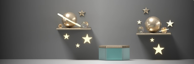 Podium and stars sphere planet for products reklama i komercyjne renderowanie 3d.