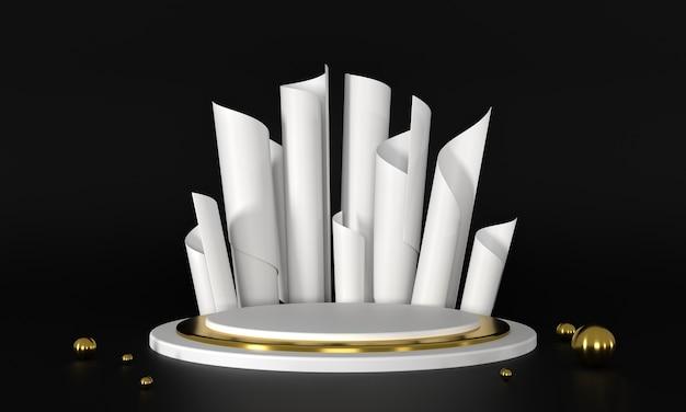 Podium białe i złote renderowania 3d.