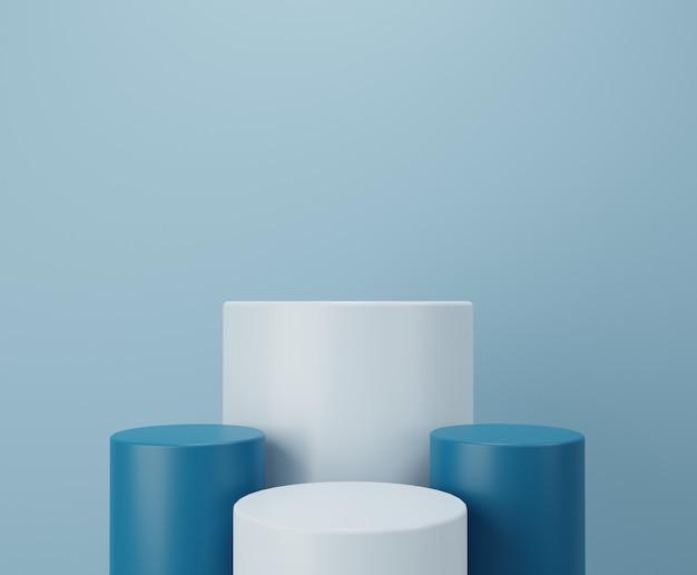 Podium biało-niebieskie. wyświetlacz produktu. renderowanie 3d