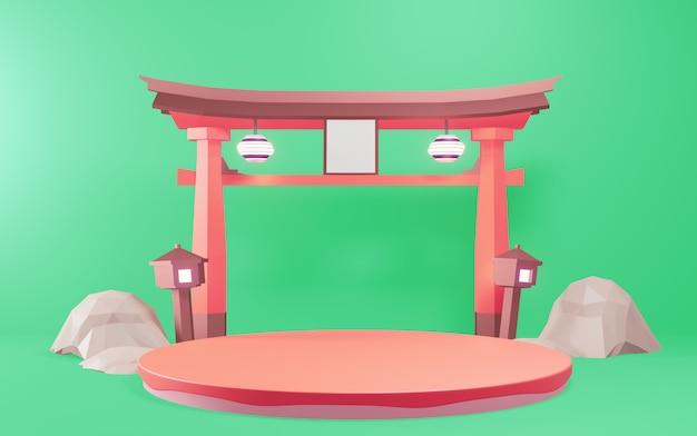Podium - cokół dla tradycyjnych japońskich produktów. rednering 3d