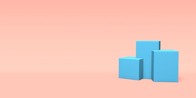 Podium, cokół lub platforma niebieski kolor. renderowanie 3d.