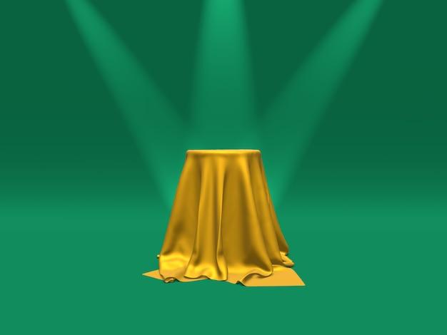 Podium, cokół lub platforma pokryte złotą tkaniną oświetlone reflektorami na zielonym tle.