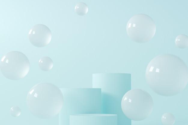 Podium cylindra na niebiesko z latającymi kulkami