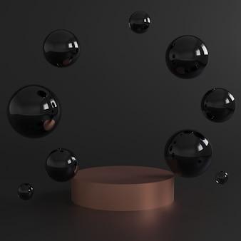 Podium cylindra w kolorze różowego złota i czarnych bąbelków na czarnym tle