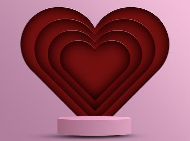Podium dla produktów z dekoracją serca, koncepcja walentynek