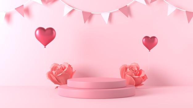 Podium do lokowania produktu w walentynki z dekoracjami