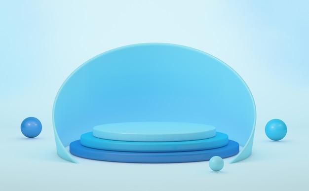 Podium do prezentacji produktu, geometryczne kształty w niebieskich odcieniach. renderowanie 3d
