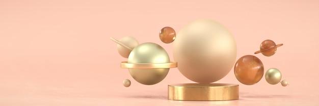 Podium i kula ze złotego metalu dla produktów reklamowych i komercyjnych, renderowanie 3d.