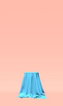 Podium lub cokół pokryty niebieskim materiałem na różowo