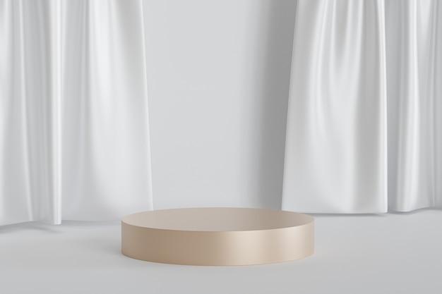Podium lub cokół w kształcie cylindra dla produktów lub reklamy na tle błyszczących białych zasłon, minimalne renderowanie ilustracji 3d