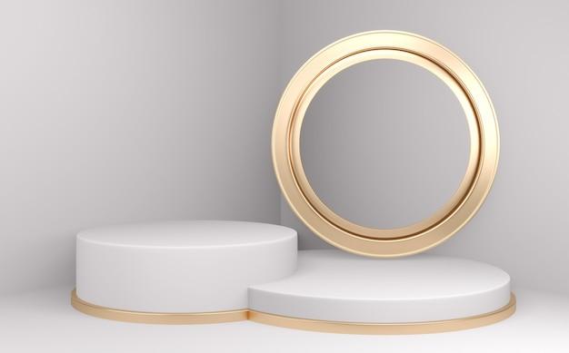 Podium minimalne geometryczne białe i podłogowe złote streszczenie