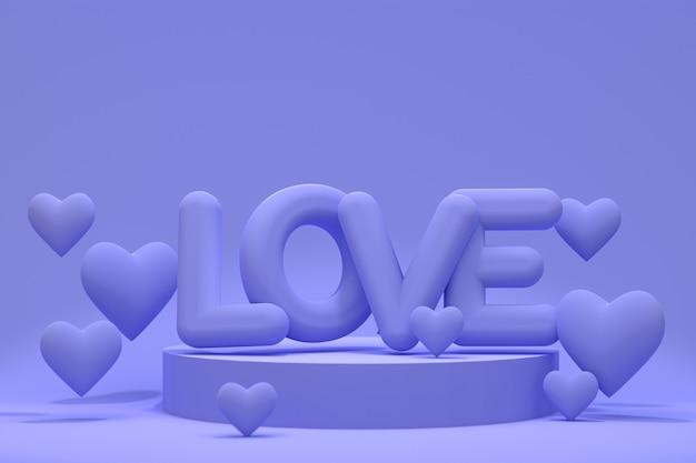 Podium minimalne streszczenie serce balonu tło dla miłości, abstrakcyjny kształt geometryczny