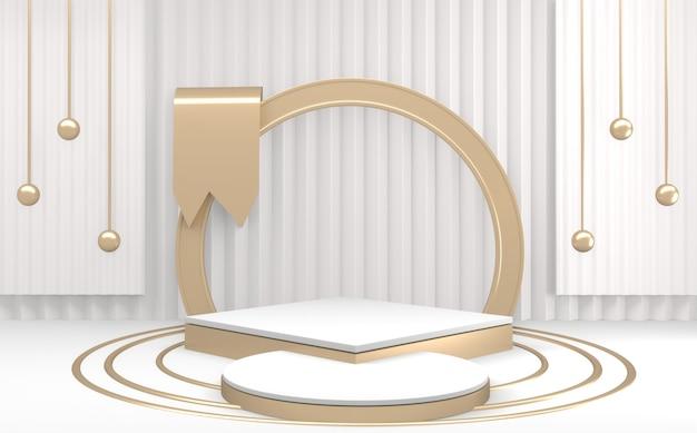 Podium na cokole ze złotą i białą sceną podium o minimalistycznym designie. renderowanie 3d