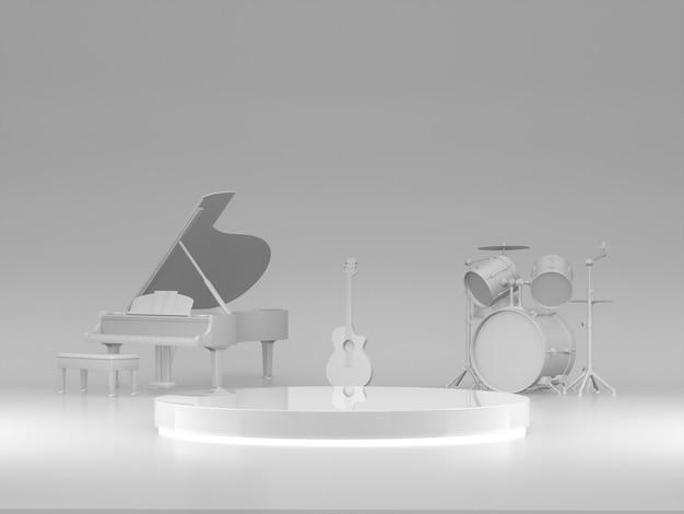 Podium na pokaz produktów z białymi instrumentami w tle