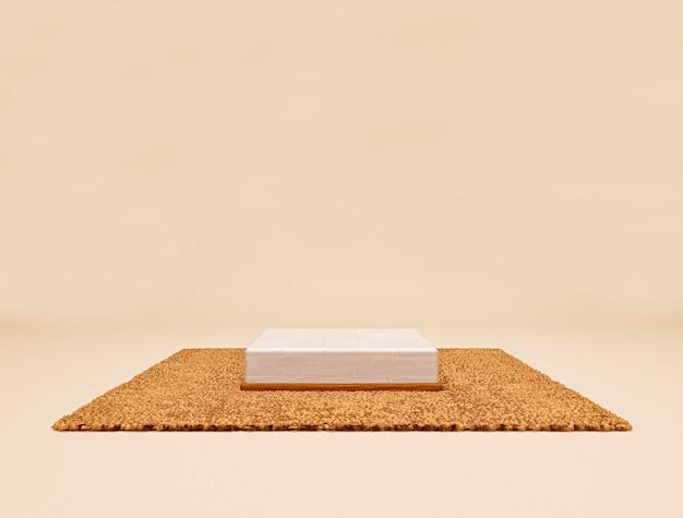 Podium na scenie dywanowej do prezentacji produktów, renderowanie 3d