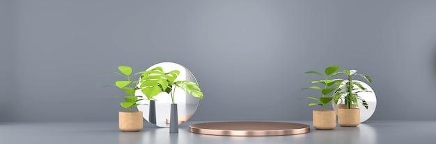 Podium na złotej platformie z zieloną rośliną do renderowania 3d produktu reklamowego