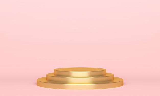 Podium na złotej scenie na różowo