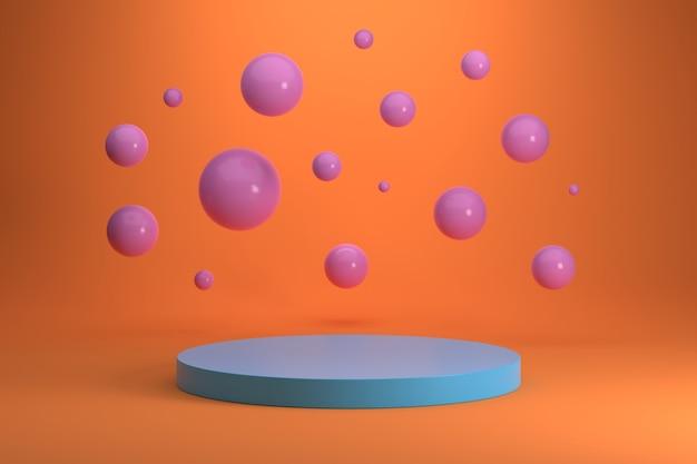 Podium niebieski cylinder i różowe kule na pomarańczowym tle gradientu.