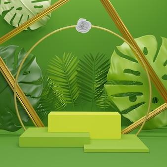 Podium pokazowe z tropikalnymi liśćmi palmowymi i rośliną monstera. pusta scena na pokaz produktu. tło czas letni