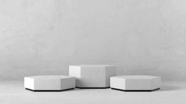 Podium prezentacja trzech sześciokątów na białym tle.