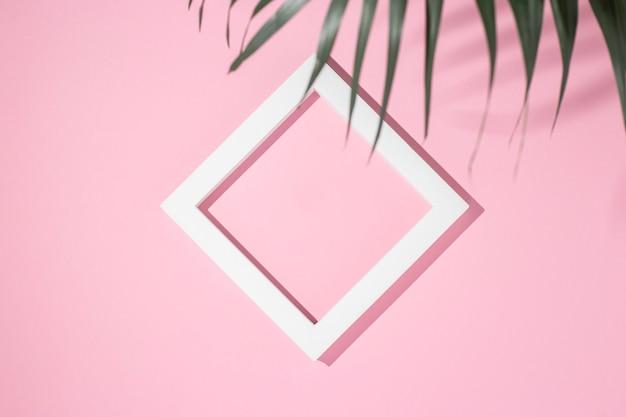 Podium prezentacji biały kwadrat ramki, liść palmy na różowym tle. widok z góry, układ płaski.