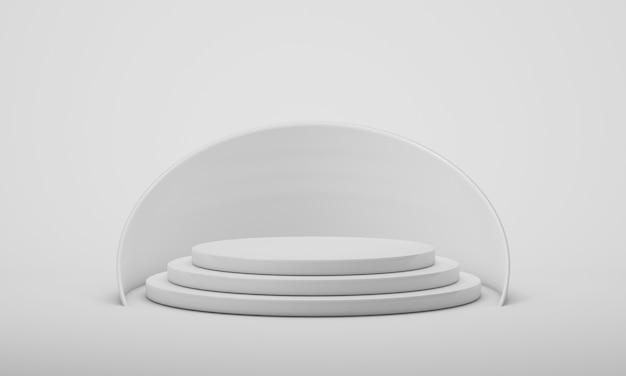 Podium prezentacji produktu, białe tło z geometrycznymi kształtami