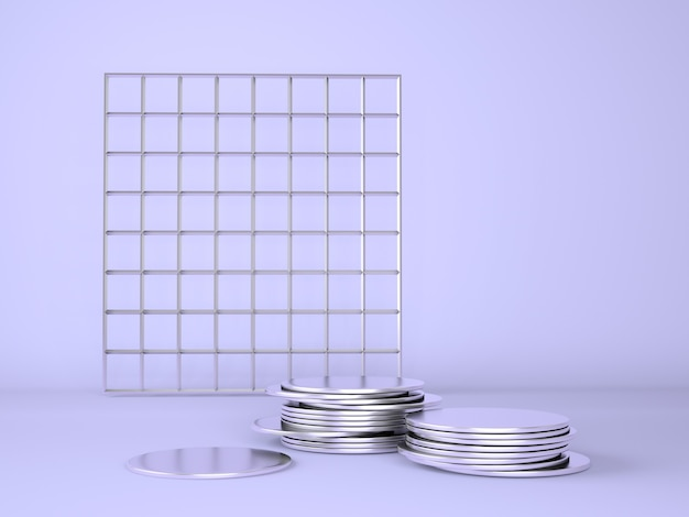 Podium produktu z pieniędzmi na pastelowy fiolet, ilustracja 3d.