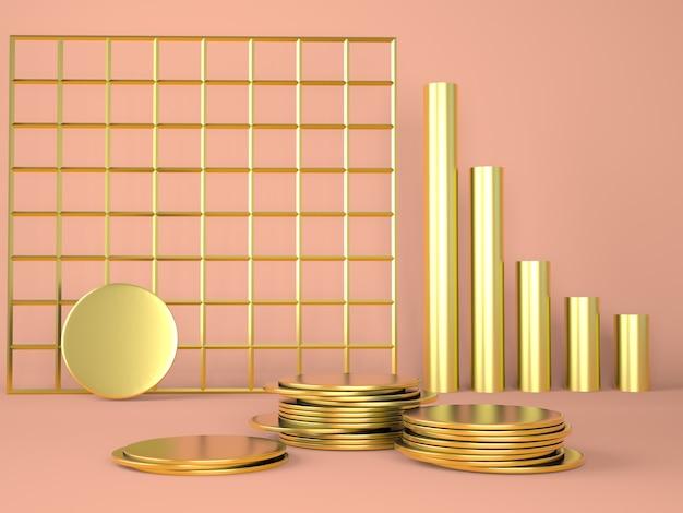 Podium produktu z pieniędzmi na pastelowym tle 3d