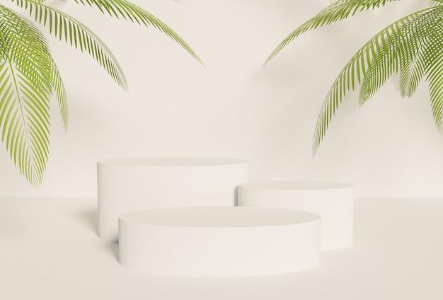 Podium produktu z trzema białymi cylindrami z liśćmi palmowymi po bokach