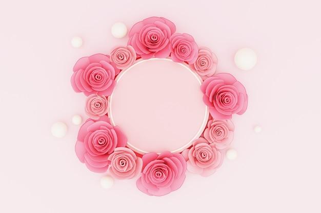 Podium renderowania 3d do lokowania produktu z valentine rose.