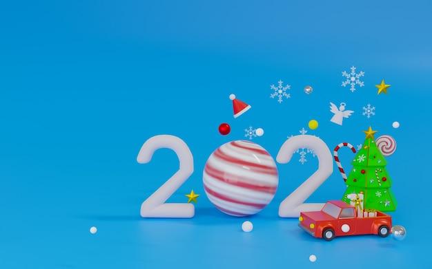 Podium renderowania 3d i motyw sceny wesołych świąt i szczęśliwego nowego roku 2021